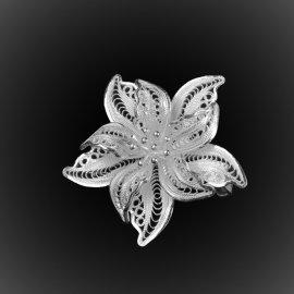 Broche Pendentif Dentelle des neiges en broderie d'argent