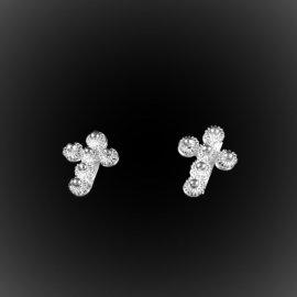 Boucles d'oreilles Vintage Cross en broderie d'argent