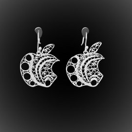 Boucles d'oreilles Apple Addict en broderie d'argent