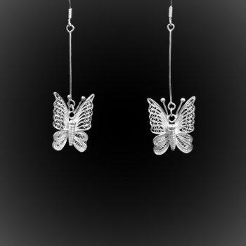 Boucles d'oreilles Dentelle de papillon en broderie d'argent