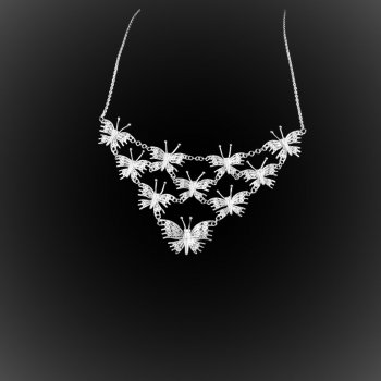 Collier Great Butterfly en broderie d'argent