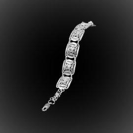 Bracelet Biscuit d'argent brodé