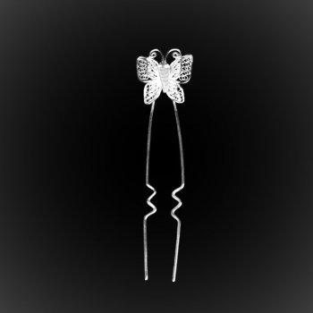 Epingle de chignon Papillon en broderie d'argent