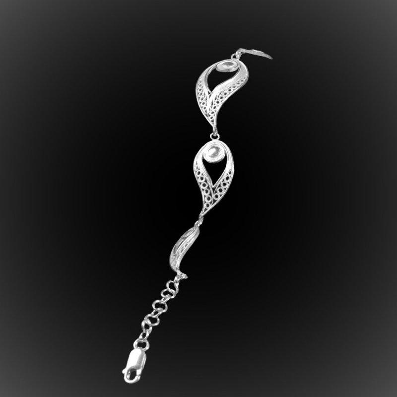 bracelet plume de paon en broderie d 39 argent 925. Black Bedroom Furniture Sets. Home Design Ideas