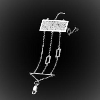 Bracelet Quadrature en broderie d'argent