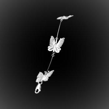 Bracelet Dentelle de papillon en broderie d'argent