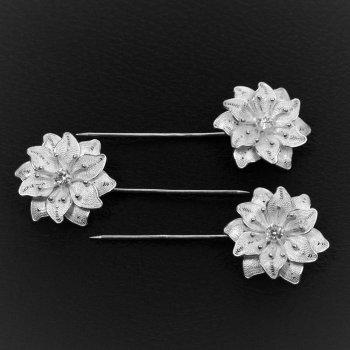 Piques à cheveux Fleur de diamant (3 pièces) en broderie d'argent