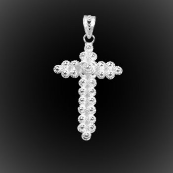 Pendentif Vintage Cross en broderie d'argent