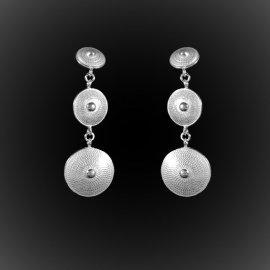 Boucles d'oreilles Nefertiti en broderie d'argent