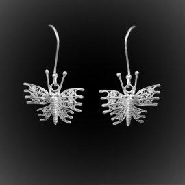 Boucles d'oreilles Great Butterfly en broderie d'argent