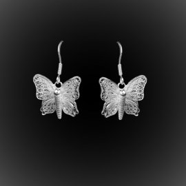 Boucles d'oreilles Butterfly en broderie d'argent