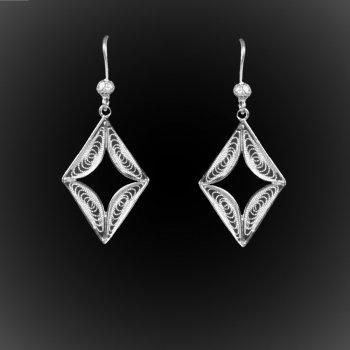 Boucles d'oreilles Les diamants d'argent brodé
