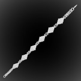 Bracelet Rhombe d'étoiles en broderie d'argent
