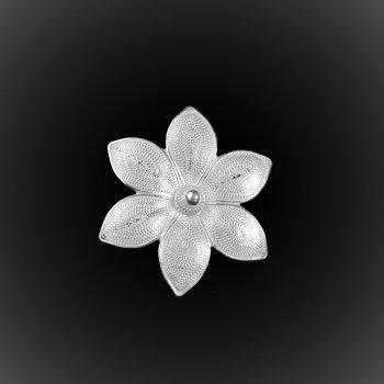 Broche Pendentif Lotus d'argent brodé