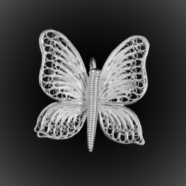 Broche Pendentif Butterfly en broderie d'argent