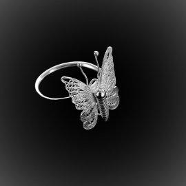 Bague Dentelle de papillon en filigrane d'argent