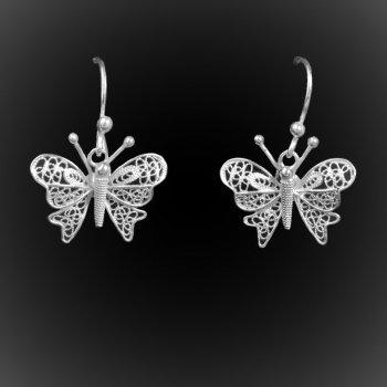 Boucles d'oreilles Lovely Butterfly en broderie d'argent