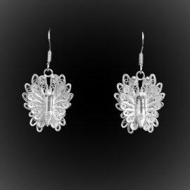 Boucles d'oreilles Royal Butterfly en broderie d'argent