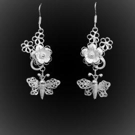 Boucles d'oreilles Flying Butterfly en broderie d'argent