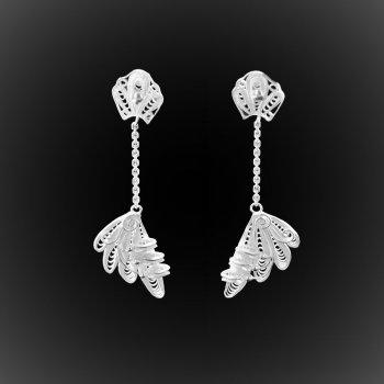 Boucles d'oreilles Royal Java pendantes en filigrane d'argent