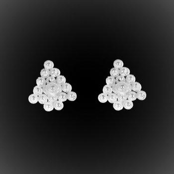 Boucles d'oreilles Delta d'étoiles en broderie d'argent