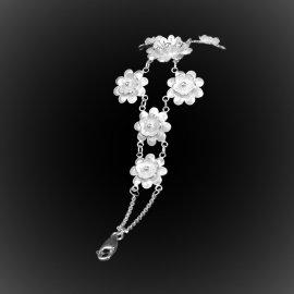 Bracelet Pushing Daisies cascade en broderie d'argent