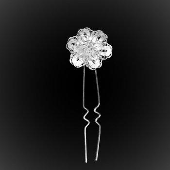 Epingle de chignon Fleur magistrale en broderie d'argent