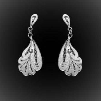 Boucles d'oreilles Poseidon en broderie d'argent