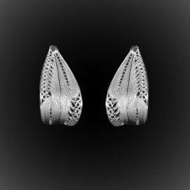 Boucles d'oreilles Plume d'argent brodé