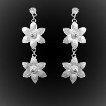 Boucles d'oreilles Lotus doubles en argent brodé