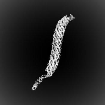 Bracelet Ondulations en broderie d'argent