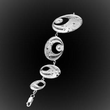 Bracelet Eclipse en broderie d'argent