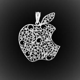 Pendentif Apple en broderie d'argent