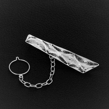 Pince à cravate Trapèze en broderie d'argent